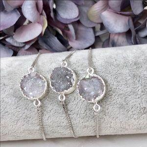 Jewelry - Handmade Druzy Silver Bolo Bracelet